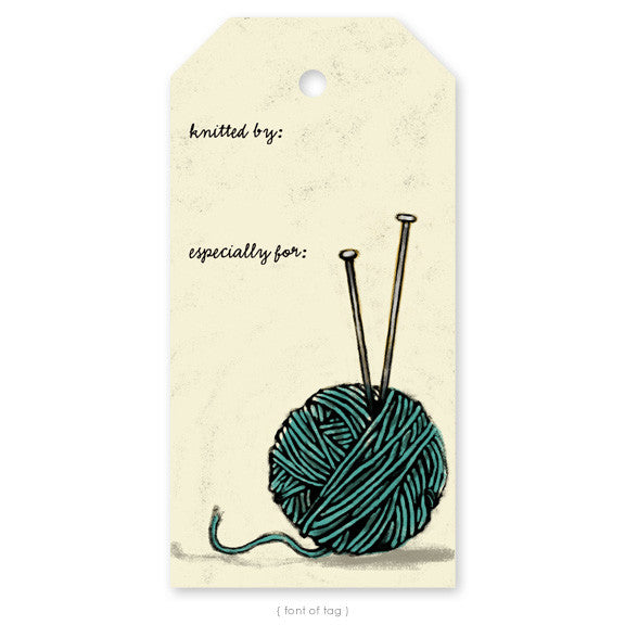 """Yarn Ball with Needles"", Gift Tag"