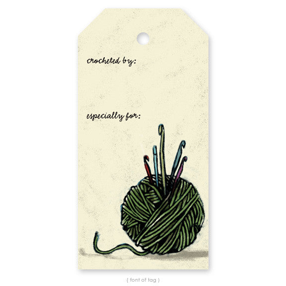 """Yarn Ball with Hooks"", Gift Tag"