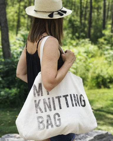 "Jumbo Canvas Tote - ""My Knitting Bag"""