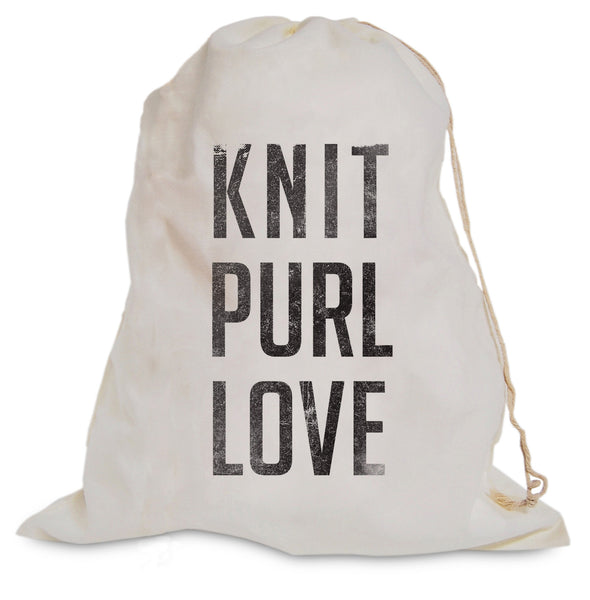 "Project Bag - ""Knit Purl Love"""