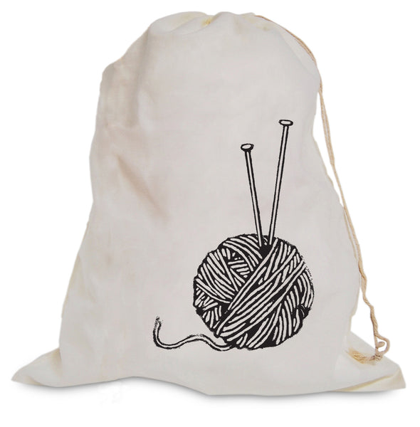 """Yarn Ball With Needles"" Project Bag"