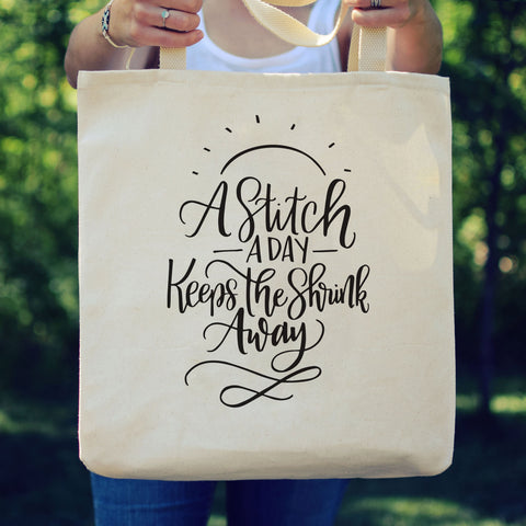 "Large Canvas Tote - ""A Stitch A Day"""