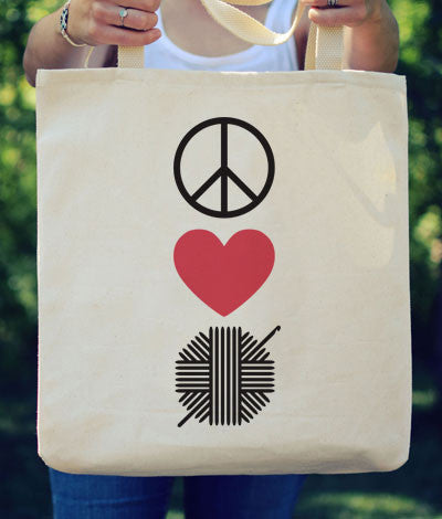 "Large Canvas Tote - ""Peace Love Crochet"""