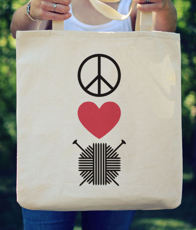 "Large Canvas Tote - ""Peace Love Knit"""