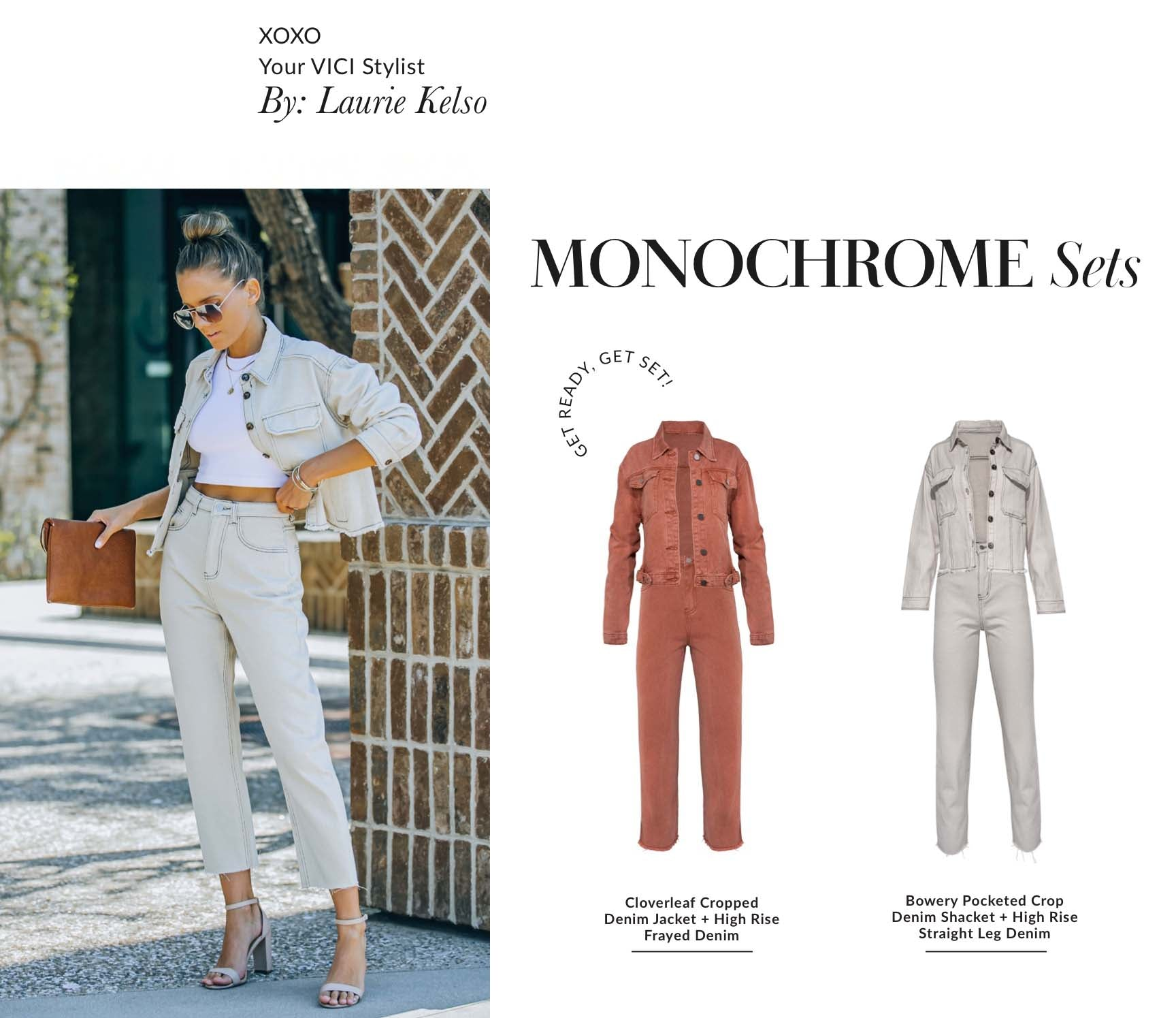 Step aside skimpy summer set, the Monochrome Denim set is taking center stage this season. This dynamic denim duo looks its best in neutral fall tones! You'll feel like a major boss when wearing this two piece set with heels and a tan clutch. The rigid and boxy feel gives this set cool-girl energy. Talk about a power suit