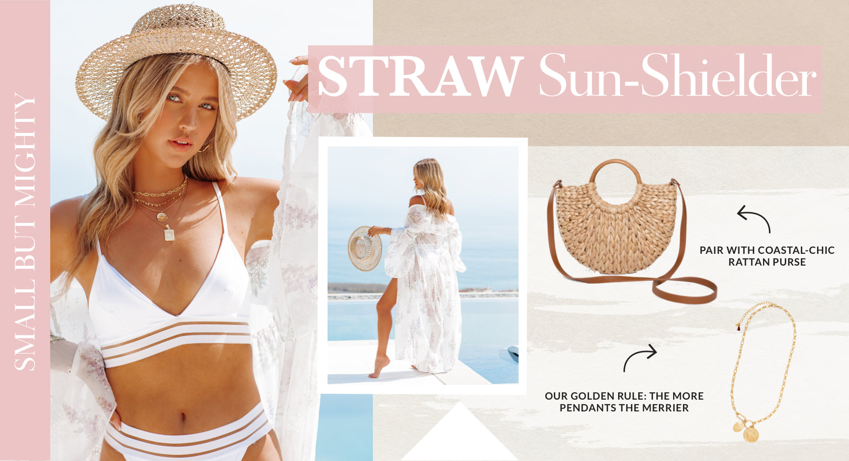 This small but mighty in style straw sun hat wins points for its packable qualities. The neutral complexion will complete your 'fit whether you're a basic babe or a bright floral adorner. Wear it on the plane with your crop top and linen pants to trick people into thinking you have it all together. Sweaty beach hair? Cover it up with this coastal cool accessory and hit the town. Shop Straw Hats