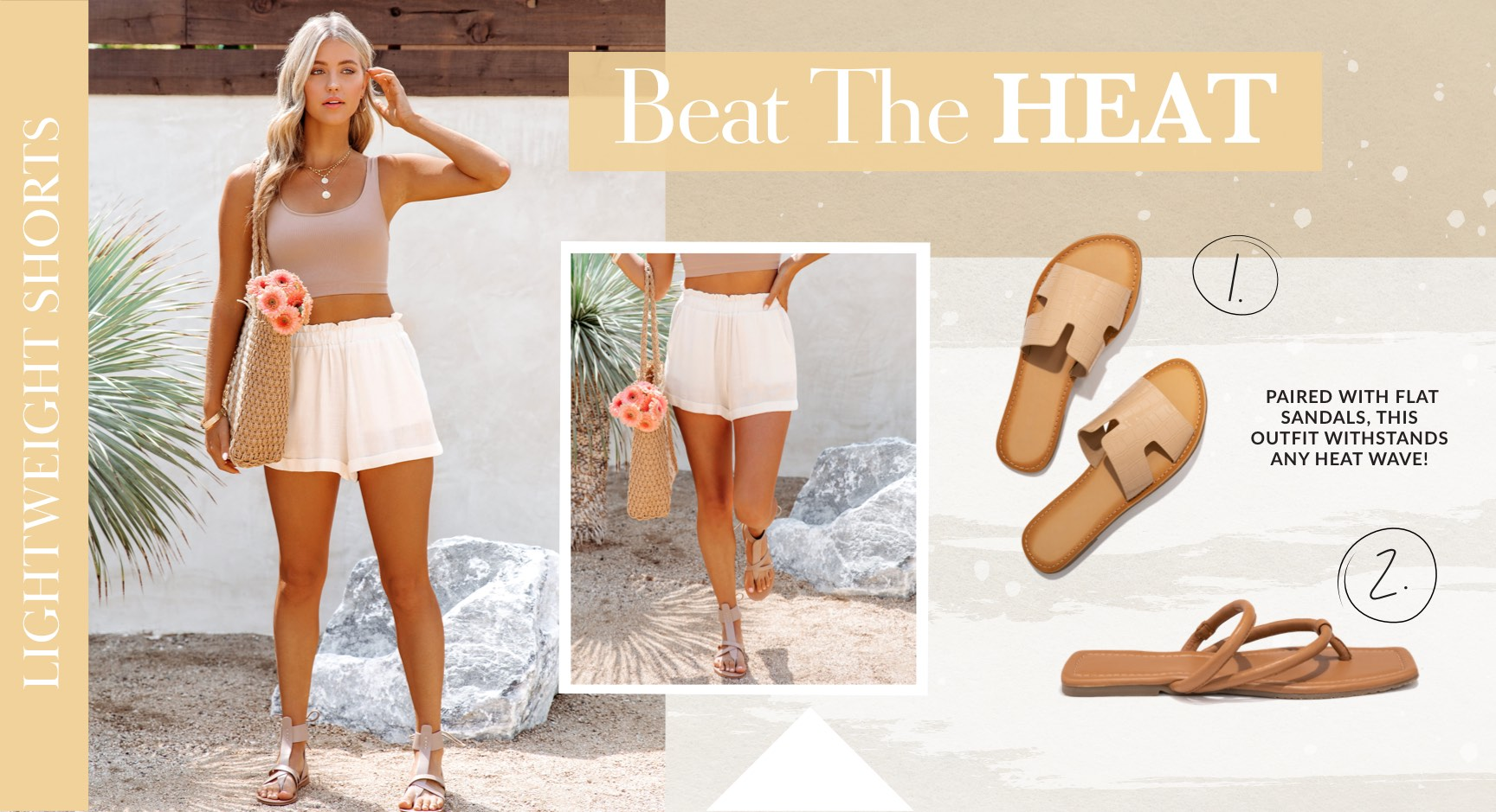 The rule goes as follows: Anything white and cotton repels hot temperatures. These lightweight shorts will allow you to lap the booths three times looking for the best raw, locally harvested honey that money can buy. Paired with a nude crop top and flat sandals, this outfit withstands any heat wave!
