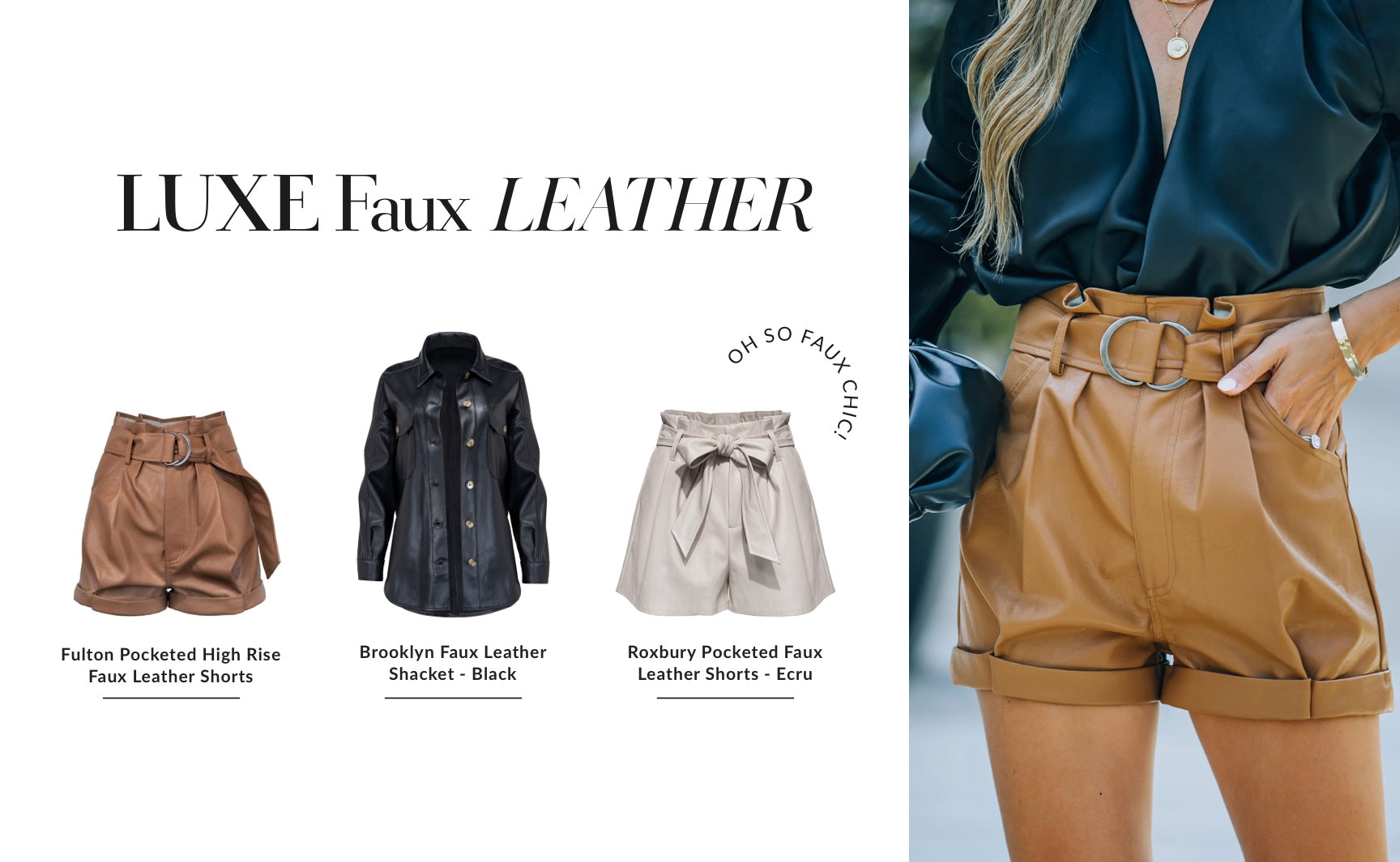 It goes without saying that any item of buttery faux leather will make your outfit look expensive. We've seen the faux leather blazers quite overdone last year, so this year we're latching onto more edgy and elevated shapes. Mix things up with a shacket silhouette paired with black combat boots and distressed denim. If officewear is more your style, leathery paperbag waist pants look so iconic with booties and a chunky sweater. Shop Faux Leather