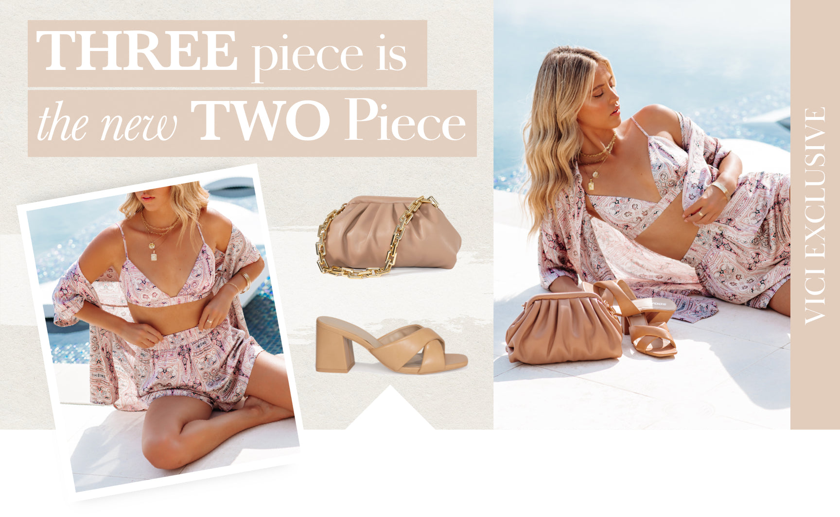 Say hello to the two piece set's older and cuter sister, the three piece set! This combo of silky, complimenting items literally has five outfits in one. Pair the shorts with a bikini, the bralette with denim cutoffs, the button up over a one piece, and SO much more. Shop Chic Matching Sets