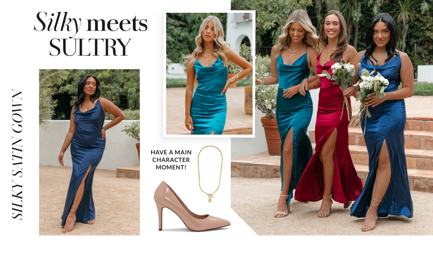 The easiest way to have a main character moment while you lock eyes with someone on the dance floor is in a floor length satin gown! This chic piece is fitted everywhere it needs to be, complete with a leg slit to show off your perfectly paired heels. Can't pick the perfect bridesmaids dress? Have your group find any silk maxi in your desired shade. Shop Silk Maxis