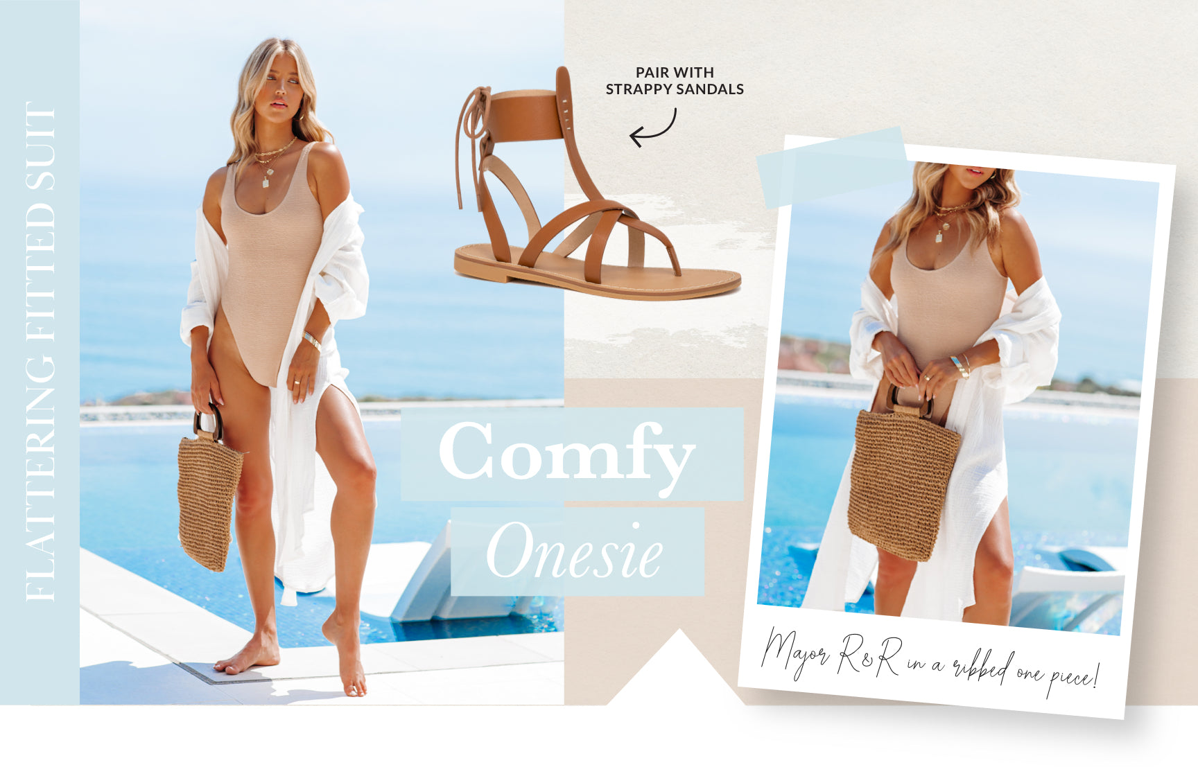 Enjoy some major R&R in a ribbed one piece! This fitted suit will flatter all the way from Day 1 of your trip to Day 5 when you've indulged on one too many sugary Aperol Spritzes. Bye bye bloat! This swimsuit earns bonus points when it mimics a bodysuit paired with a satin skirt and lace up heels. Shop Swim