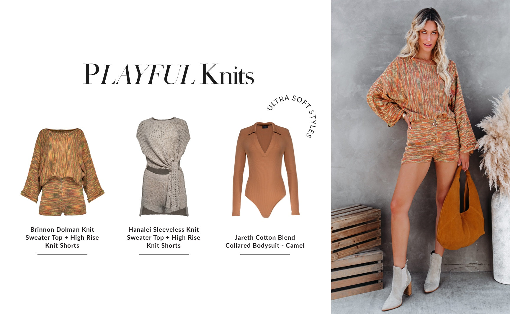 The #1 reason why we love knitwear is because it still feels like you're wearing that beloved 2020 lounge set, disguised in a cuter outfit. Let these ultra soft styles cuddle up to your skin and keep you cozy from 9-5. The chicness of a collar detail or a fun print gives this classic material an updated twist. Shop Playful Knits
