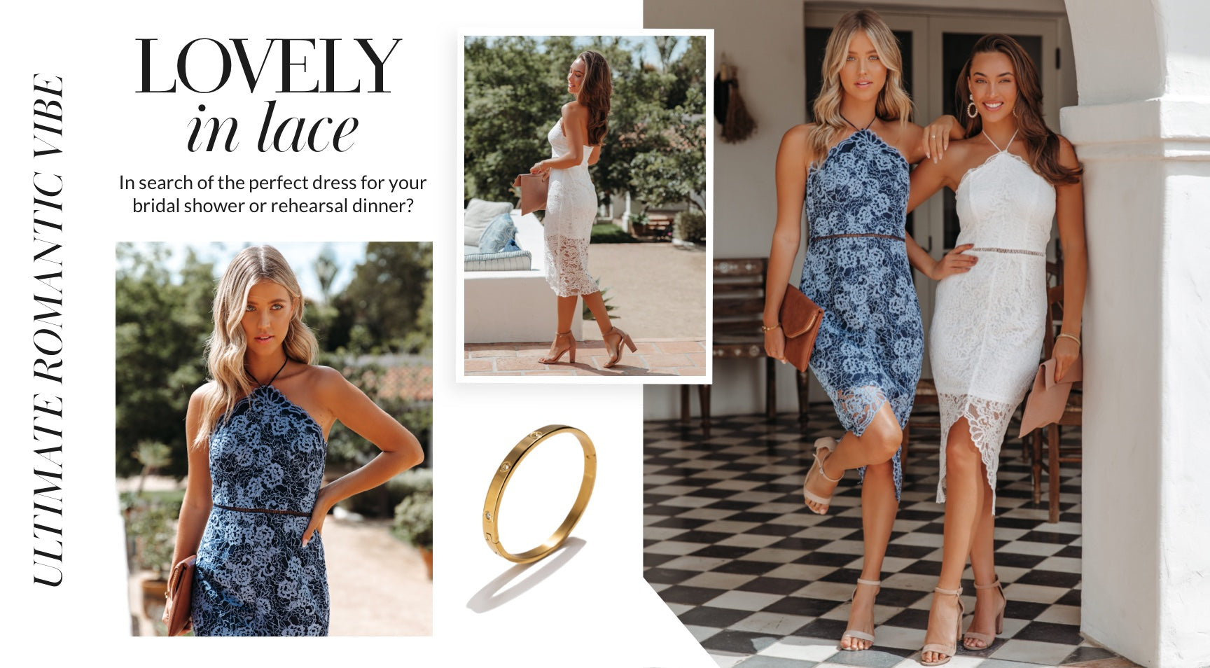 Anything lace is the ultimate romantic vibe! Scalloped edges and a halter neckline make this dress a little more fancy than the rest. In search of the perfect dress for your bridal shower or rehearsal dinner? The ivory shade looks stunning when paired with large pearl earrings for a trendy touch. Shop Lace Dresses