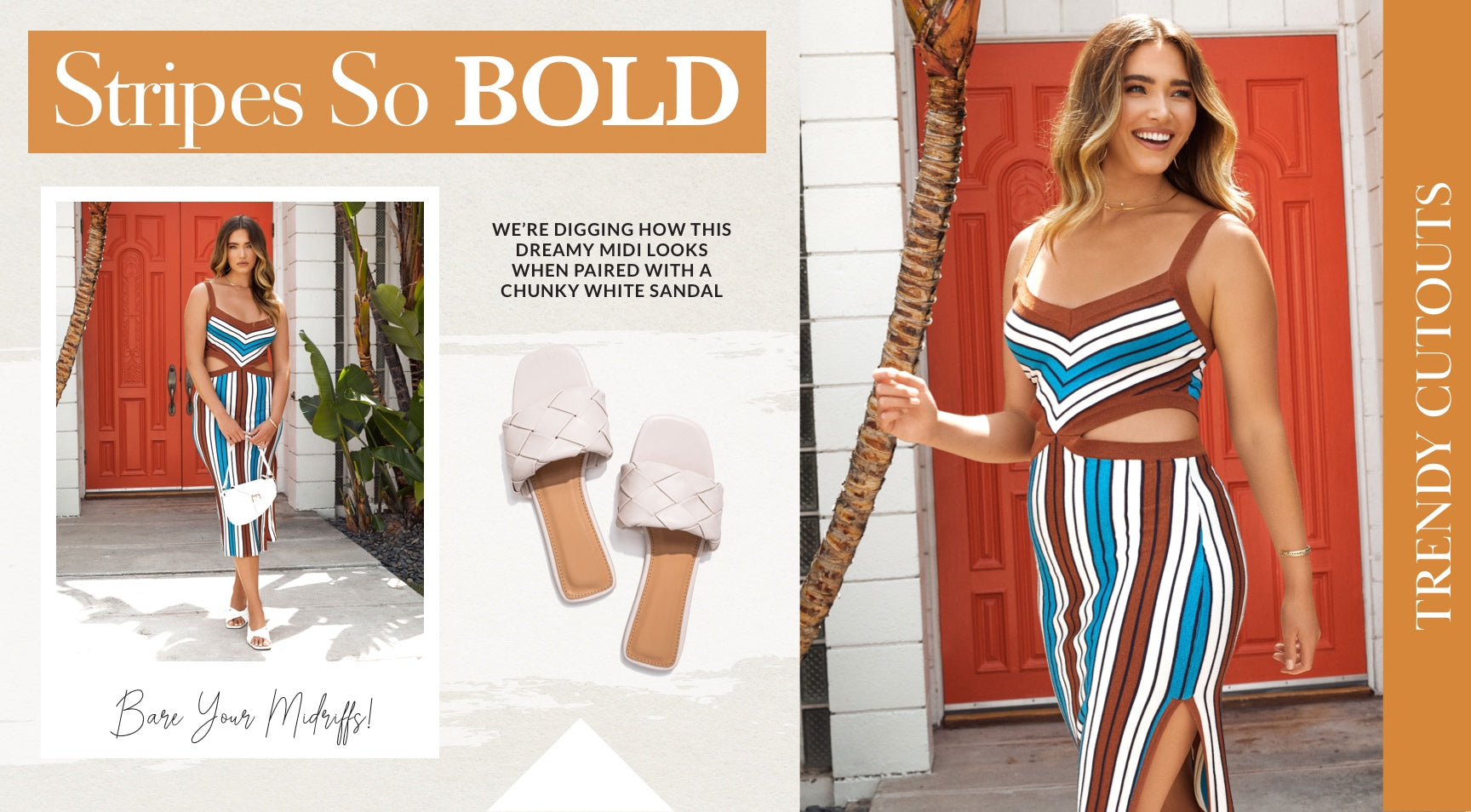 Thought the cutout trend would fade away with the summer sun? Nope! Get ready to bare your midriffs to the September chill because cutout trends are tagging along this Fall season. We're digging how this dreamy midi looks when paired with a chunky white heel.