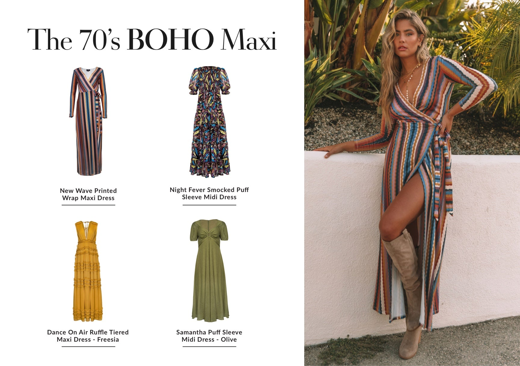 Don't mind us, we'll be pairing a retro, floral dress in a soft fall shade with a chunky black combat boot every day this season. The mix of 70's and boho brings all of the Stevie Nicks circa 1975 vibes we can only dream of. Patterns, stripes, and unique florals are all fun ways to diversify your maxi collection. Shop 70's Boho Dresses