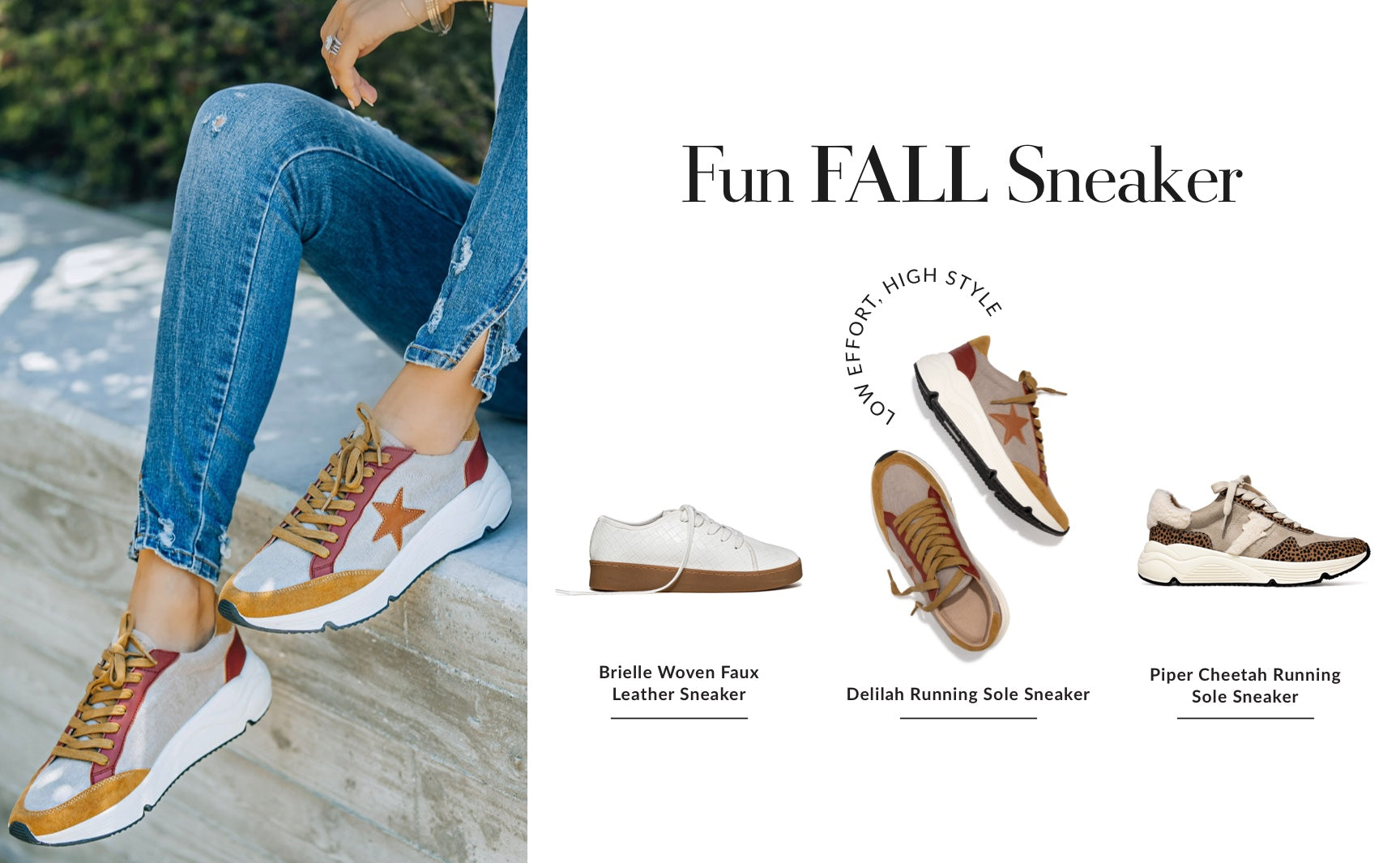 Activewear, but make it autumn themed! Toss out your basic white sneakers that are most likely covered in summertime concert dirt anyway. The fun fall sneaker introduces patterns and prints to play with. Your recipe for a lazy girl yet put together look: A matching workout set + a chunky cheetah printed sneaker. Low in effort, high in style. Shop Fun Fall Sneakers