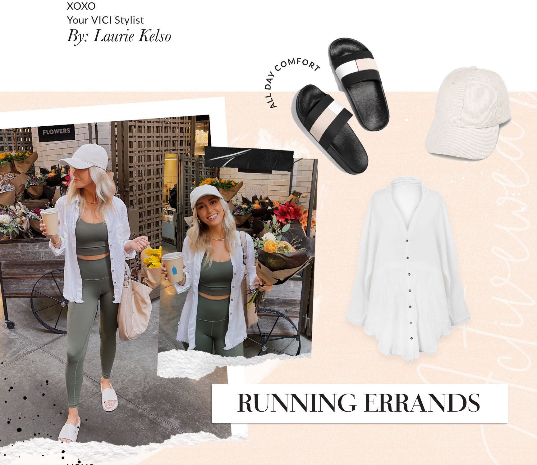 This casual weekend look is all about doing the least while still looking put together.  Easily achieve this effortless vibe by grabbing your favorite, neutral toned leggings and sports bra set. Next, cover up your messy hair with a nude hat. A large slouchy hobo bag will hold those fresh flowers for some much needed cheer in your apartment. Add a boxy, white button up just in case the grocery store produce aisle is a little too chilly. Who knows, maybe just by wearing this set you'll make it to the gym at the end of the day. Or not, we're not judging.
