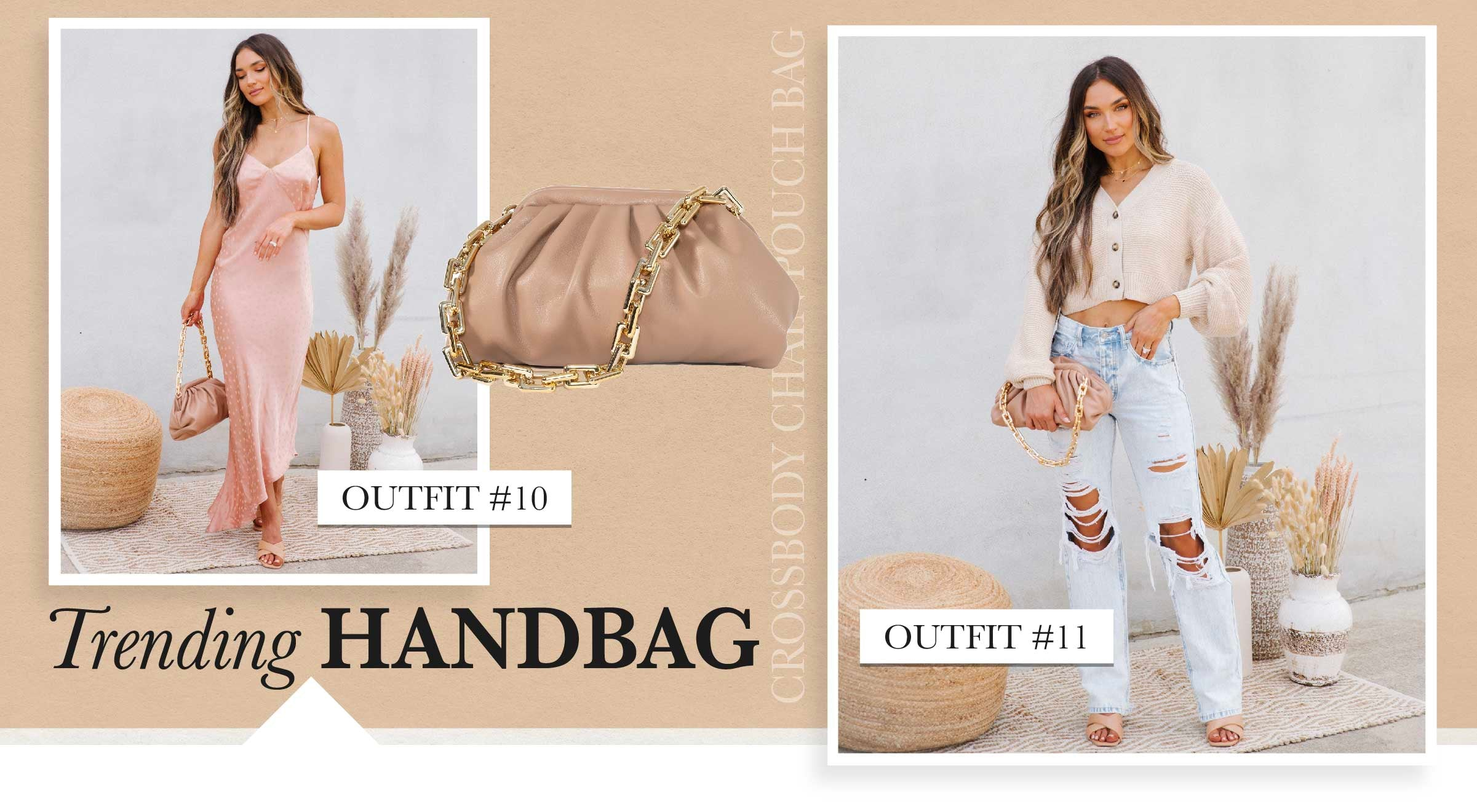 Haven't you heard? Crinkly clutches are the newest trend! These puffy purses look so chic paired with every kind of outfit from fancy to casual. The chunky gold chain link handle makes this must-have accessory look uber high-quality.