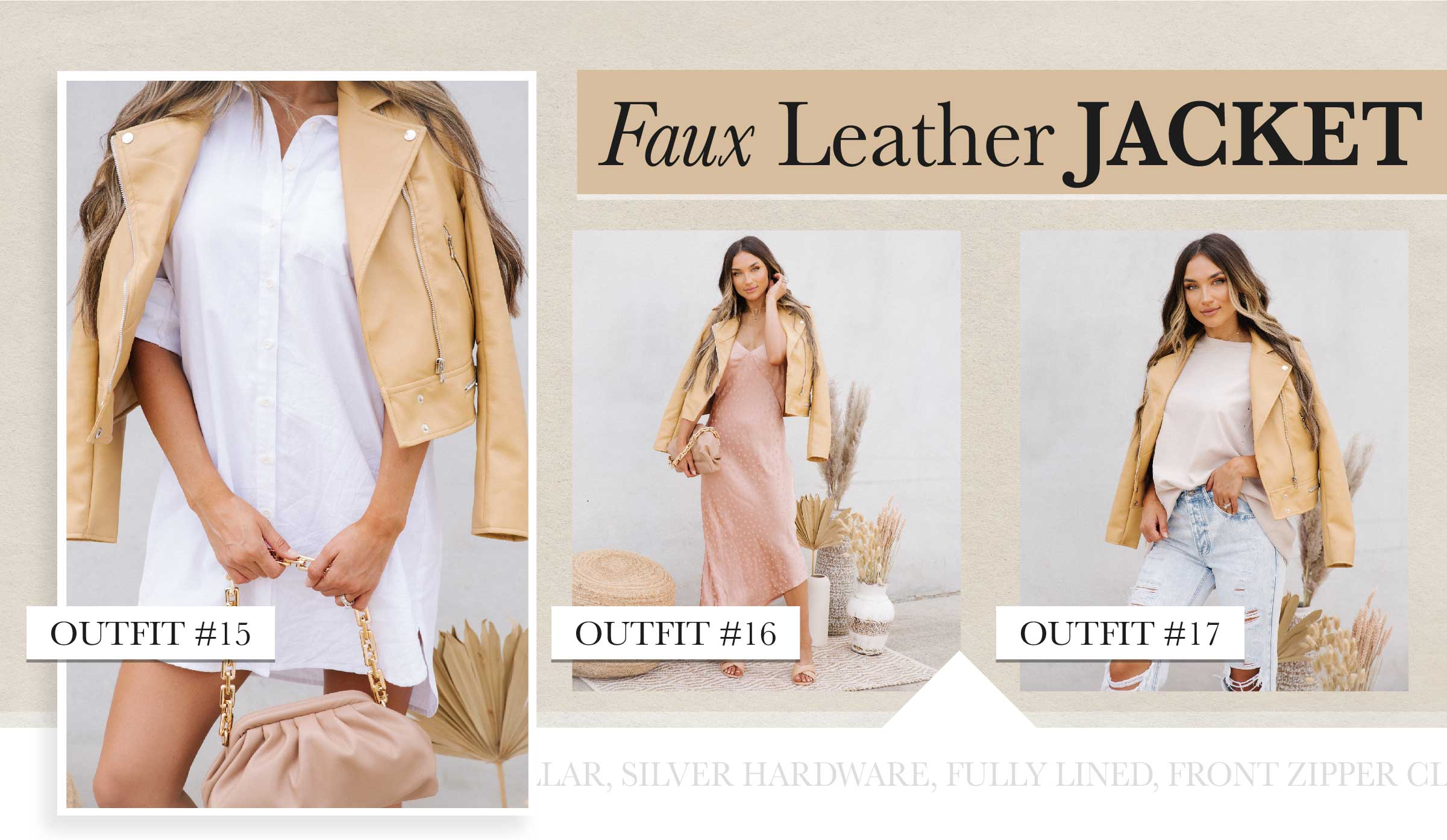 We're digging the buttery smooth look of a camel colored jacket over all of the gorgeous summer hues. This piece is muted enough to match over literally everything you own. Buy yours a little oversized for that cool girl vibe!