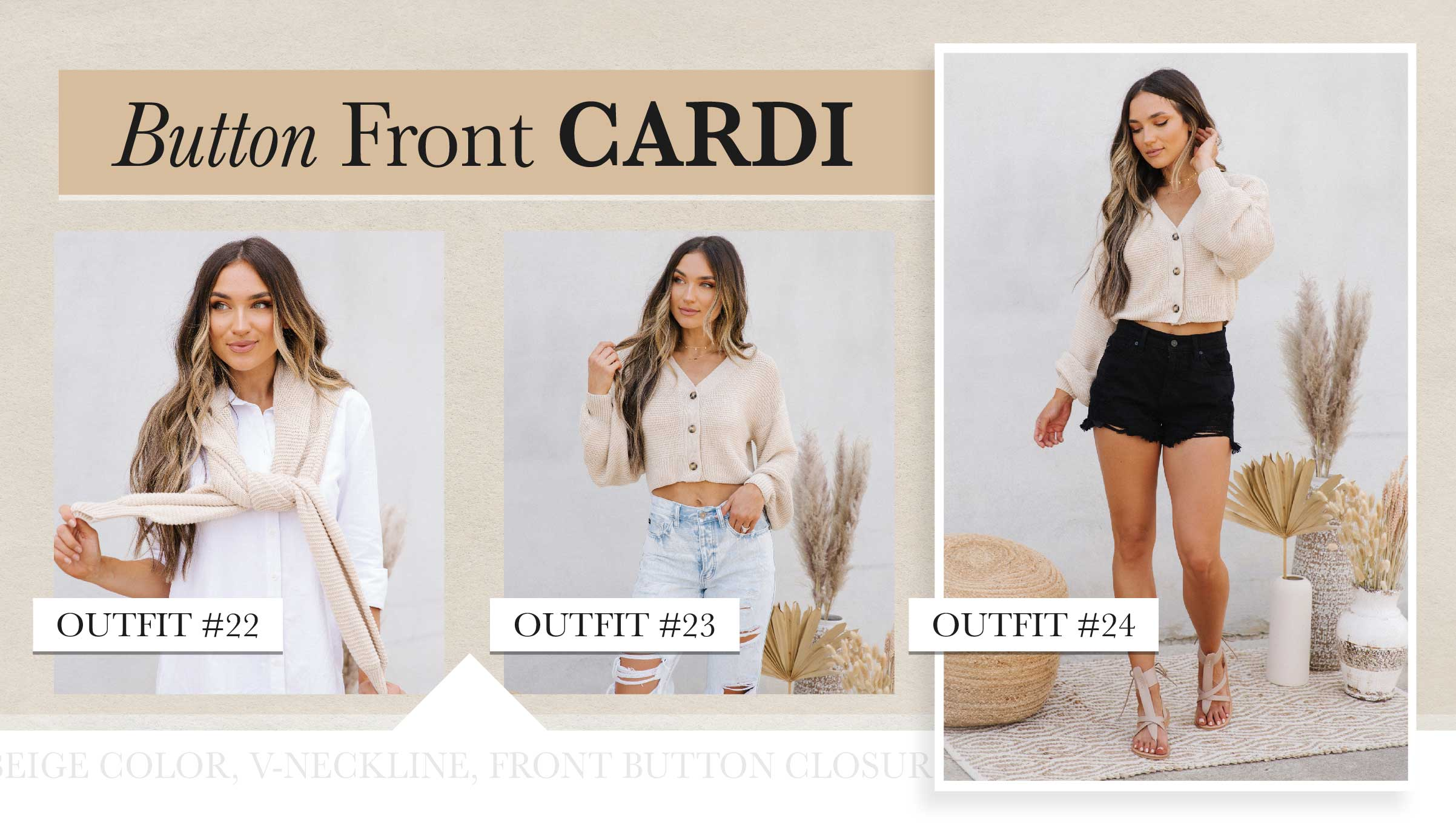 When the sun sets but there's still more fun to have, you'll need a little layer of warmth. Cropped cardis are ideal for that day-to-night look. We love the look of it tied around your shoulders for a preppy vibe!