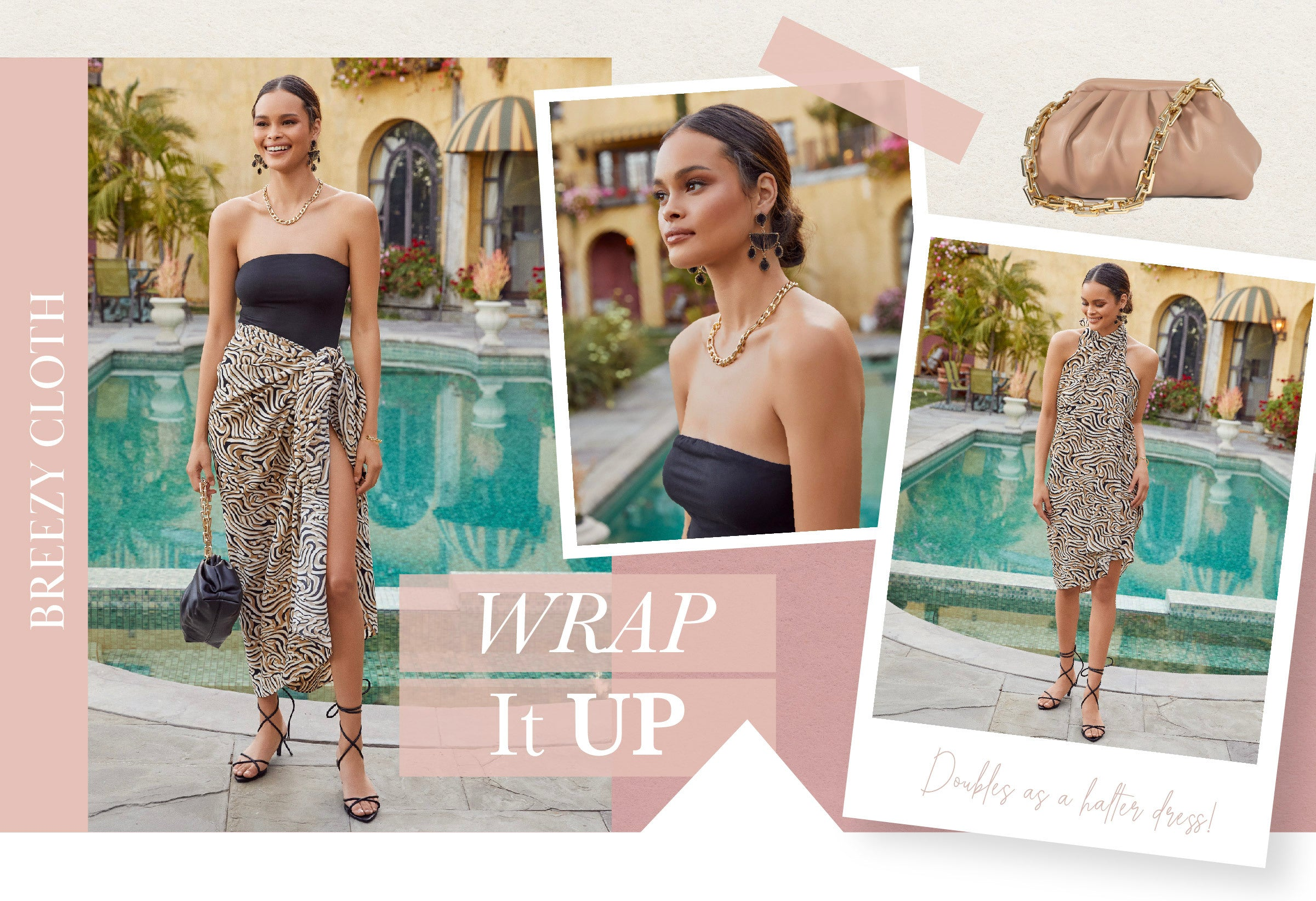 Treat your beach sarong cover up to a night out on the town! Easily elevate this piece of fabric by pairing it with a skinny, lace up heel and a chic purse. This breezy cloth also doubles as the star of the show by wrapping it around your neck in a halter mini dress style.