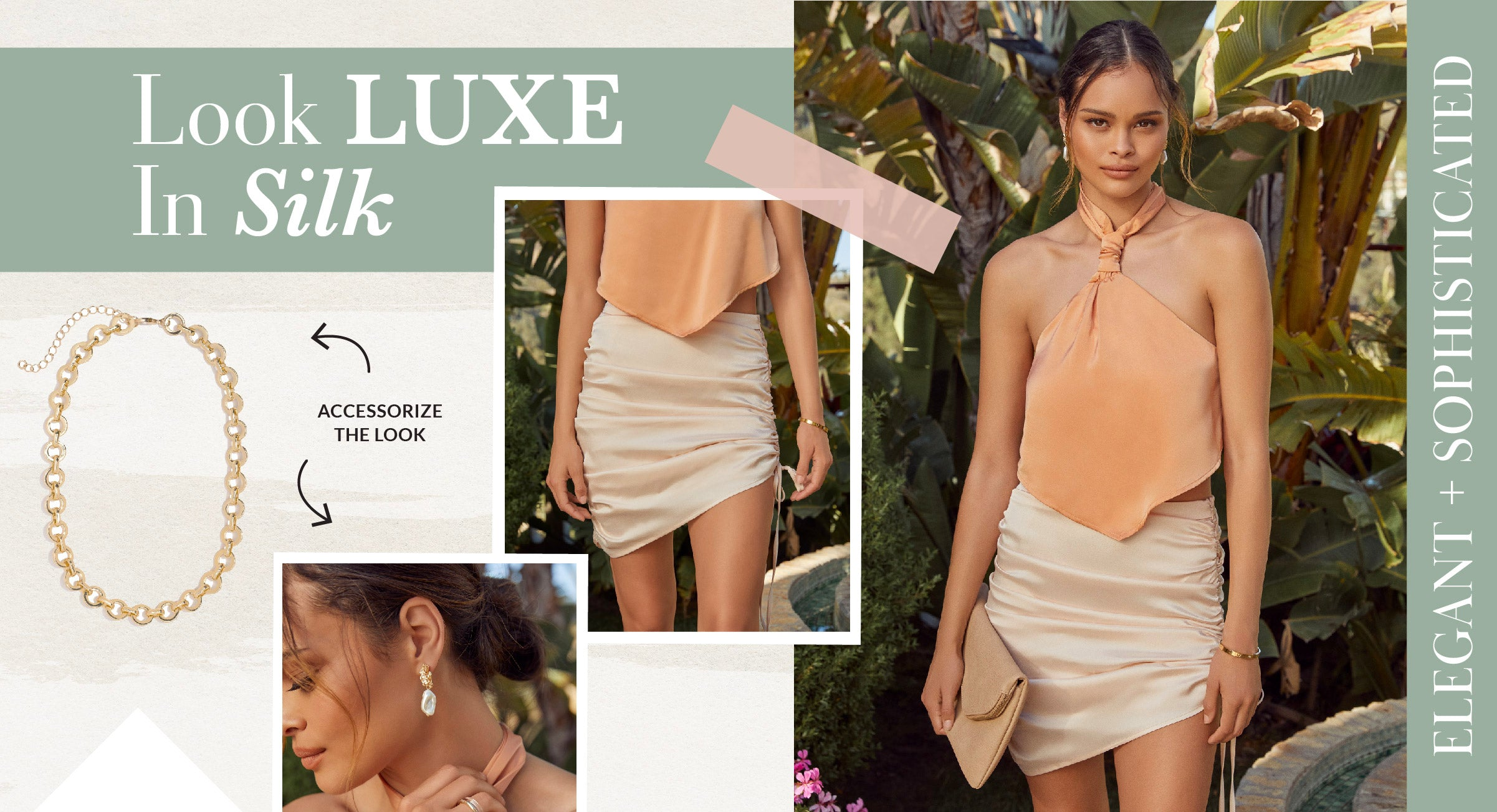 Anything satin instantly makes you look and feel like the main character. The silky material will feel like butter on your slightly sunburnt skin. Pair satin with satin and you've never felt more luxurious!