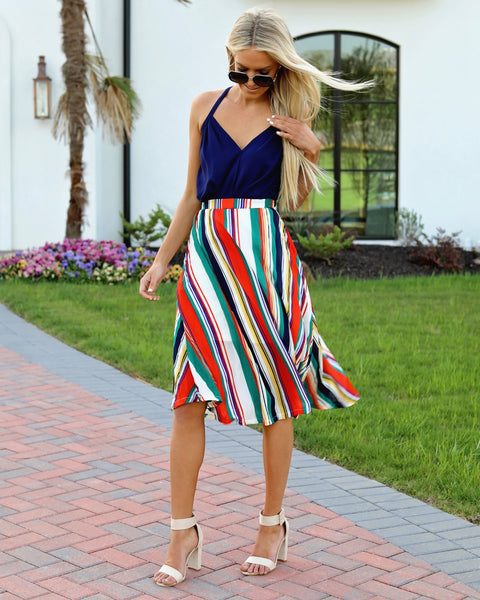 Live Colorfully Pleated Striped Midi Skirt