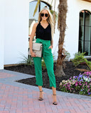 Hot On Your Heels Pocketed Tie Pants - Green