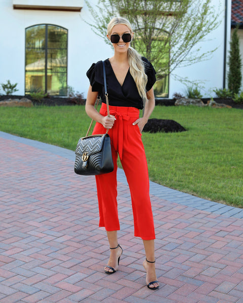 Hot On Your Heels Pocketed Tie Pants - Red