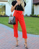 Hot On Your Heels Pocketed Tie Pants - Red - FINAL SALE