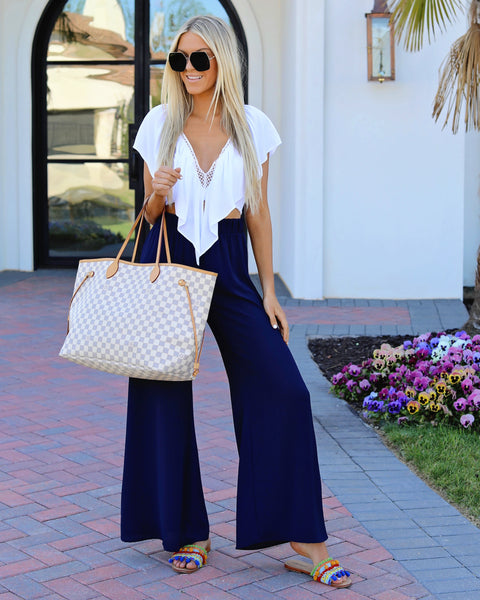 Chic La Vie Tie Pants - Navy - FINAL SALE