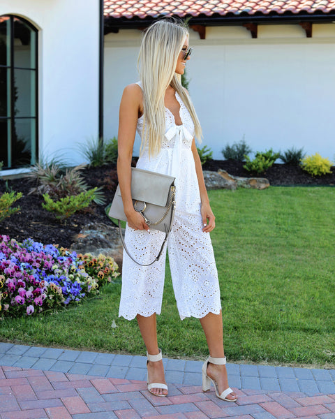 Darla Eyelet Cotton Tie Jumpsuit - Off White - FINAL SALE