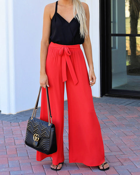 Chic La Vie Tie Pants - Red - FINAL SALE