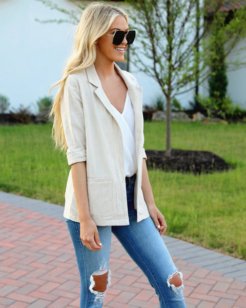 Workin' It Linen Pocketed Blazer