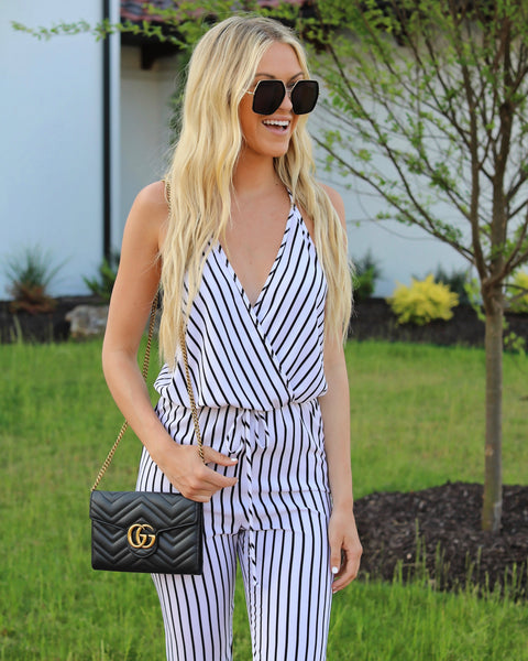 For The Win Striped Jumpsuit