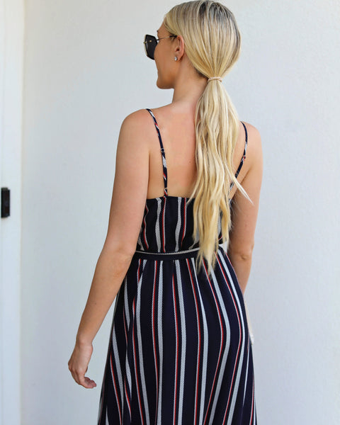 How High The Moon Striped Maxi Dress - FINAL SALE