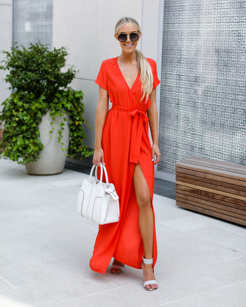 Short Sleeve Solid Bardot Wrap Maxi Dress - Sunrise