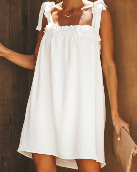 Daytime Fun Tie Dress - Off White
