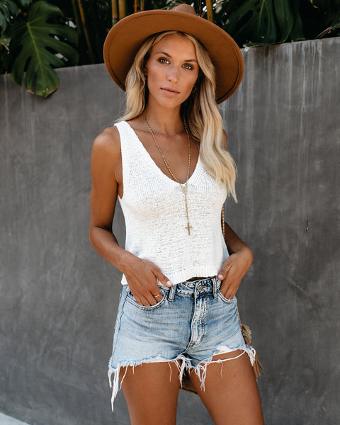 100 Degrees Crop Knit Tank - Off White