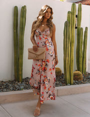 Aloe Vera Floral Slip Maxi Dress - Rose view 5