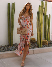 Aloe Vera Floral Slip Maxi Dress - Rose view 1