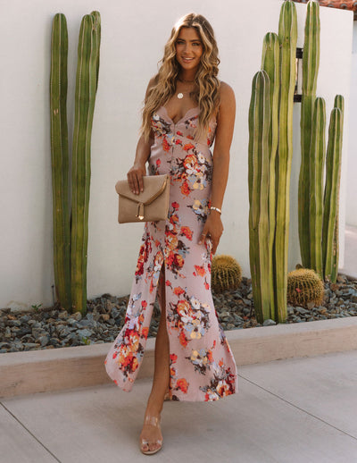 Aloe Vera Floral Slip Maxi Dress - Rose