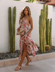 Aloe Vera Floral Slip Maxi Dress - Rose view 7