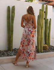 Aloe Vera Floral Slip Maxi Dress - Rose view 2