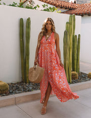 Trystan Floral Crochet Tiered Maxi Dress - Coral view 1