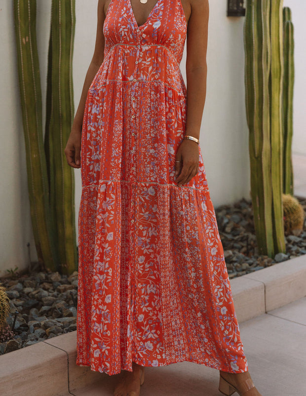 Trystan Floral Crochet Tiered Maxi Dress - Coral view 5