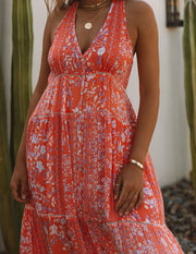 Trystan Floral Crochet Tiered Maxi Dress - Coral view 4
