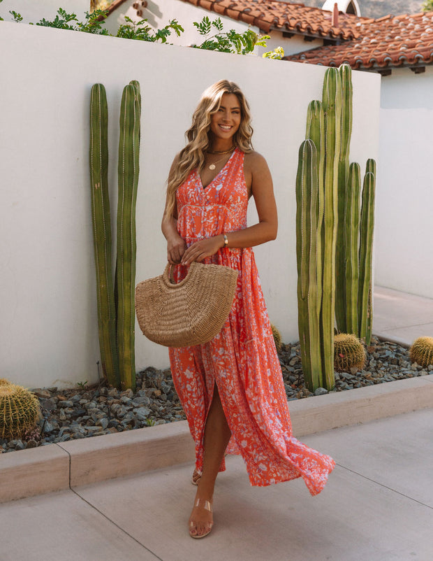 Trystan Floral Crochet Tiered Maxi Dress - Coral view 7