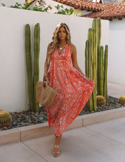 Trystan Floral Crochet Tiered Maxi Dress - Coral view 8