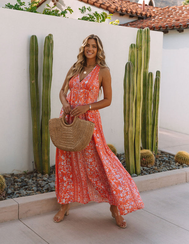 Trystan Floral Crochet Tiered Maxi Dress - Coral view 9